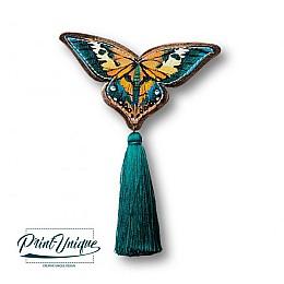 "Brosa ""Papillon"" (verde smarald)"